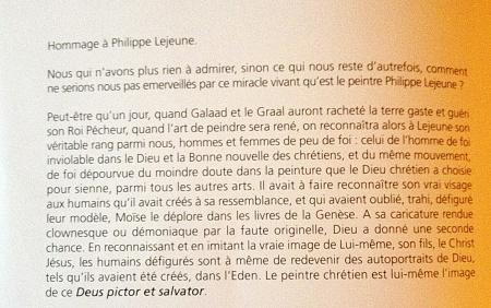 préface d'un catalogue d'une exposition Philippe LEJEUNE par Mr FUMAROLI