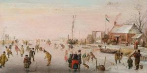 "Hendrick Avercamp ""scéne sur la glace""1610-20 hst 15 x 29.5 Fondation P N de BOER Amsterdam"