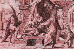 Maître de l'Adoration du Liechtenstein -Adoration des mages-plume pinceau et encre brune sur papier préparé rouge 139x203 mm Fondation  P N de BOER Amsterdam