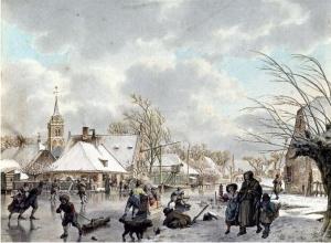 Jacob CATS paysage d'hiver:le mois dedécembre 1795 aquarelle 205x 280mm Fondation P N de BOER Amsterdam