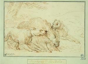 deux chiens forçant un sanglier-Stefano Della Bella-plume