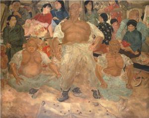 Foujita Lutteurs à Pekin 1935 hst 180.9x225.4cm Masakichi Hirano Art Foundation Adagp Paris 2018