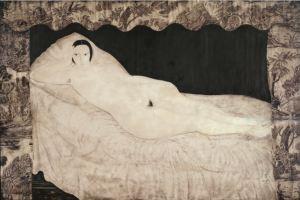 """Foujita """"nu à la toile de jouy"""" 1922 hst musée d'art moderne de Paris Roger viollet Fondation Foujitqa Adagp Paris 2018"""